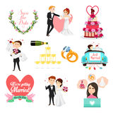 Wedding Celebrations Icons and Cliparts Stock Image