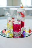Wedding centerpiece. With floating candles and flowers Royalty Free Stock Images