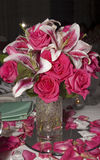 Wedding centerpiece. Orchid and rose Wedding centerpiece Royalty Free Stock Images