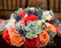 Wedding centerpiece on a table royalty free stock photography