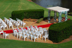 Wedding ceremony. With gazebo chairs and red carpet Royalty Free Stock Photos