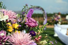 Wedding ceremony. Abstract close-up view of flowers and set-up at a wedding Royalty Free Stock Photography