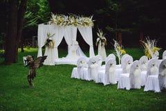 Wedding ceremony. In a beautiful garden Stock Photos
