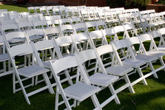 Wedding ceremony. Chairs are set up for the ceremony stock images