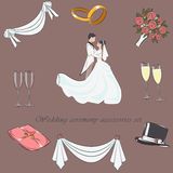Wedding ceremony accessories set. Flat  set with items. Graphic elements for invitation for marriage announcement Royalty Free Stock Photography