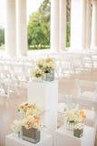 Wedding Ceremony Aisle. Flowers near the aisle of an elegant wedding ceremony stock photography