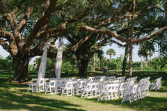 Wedding ceremony alter chairs under oak tree