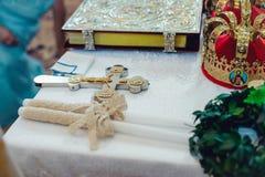 Wedding ceremony attributes in church. Wedding ceremonial attributes are on the altar in a church Royalty Free Stock Image