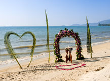 Wedding ceremony on a beach Stock Photo