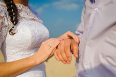 Wedding ceremony on the beach. Royalty Free Stock Image
