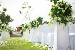 Wedding ceremony in beautiful garden Stock Images