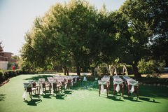 Wedding ceremony in  beautiful garden Stock Photography