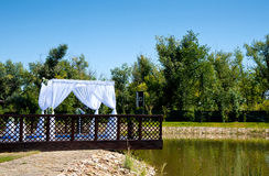 The wedding ceremony at beautiful the pond Stock Photography
