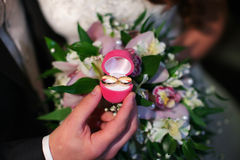 Wedding ceremony, the bride and groom exchange rings. Stock Image
