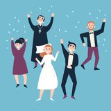 After wedding ceremony. Bride, groom and guests vector illustration