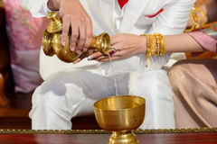 Wedding ceremony by Buddhist. Royalty Free Stock Photography