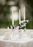 Wedding ceremony candles. Candles outside wedding ceremony detail Royalty Free Stock Images