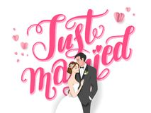 Wedding couple logo. Wedding ceremony card. Paper cut and craft style. Loving couple on holiday background. Just married lettering stock illustration