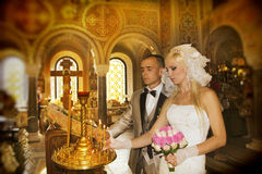 Wedding ceremony in church Stock Photo