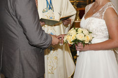 Wedding ceremony. In the church Stock Image