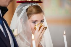 Wedding ceremony in church Royalty Free Stock Photography