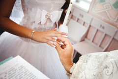 Wedding ceremony in church. Stock Photography