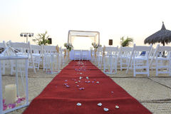 Wedding ceremony decor on the beach Stock Image