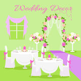Wedding Ceremony Decor Flat Design Vector Concept. Wedding ceremony decor concept vector. Flat style. Composition in green and violet colors with decorated for vector illustration