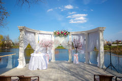 Wedding ceremony decoration outdoor Royalty Free Stock Photo