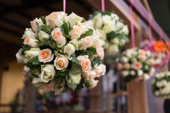Wedding ceremony decoration with white bouquet rose Stock Photos