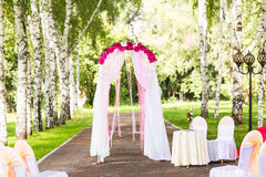 Wedding Ceremony Decorations Outdoors. Wedding in nature Royalty Free Stock Photo
