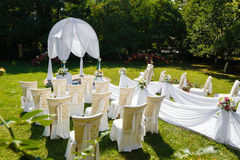 Wedding ceremony decorations in the park Royalty Free Stock Images