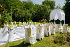 Wedding ceremony decorations in the park Stock Photo