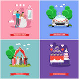 Wedding ceremony design vector banners. Bride and groom celebrate their marriage Stock Images