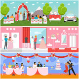 Wedding ceremony design vector banners. Party interior. Bride and groom celebrate their marriage Stock Photo