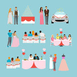 Wedding ceremony design vector  icons. Party objects Stock Photo