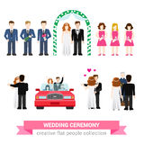 Wedding ceremony flat vector people set: bride, groom, newlyweds Royalty Free Stock Image