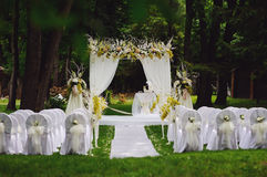 Wedding ceremony in garden Royalty Free Stock Photography