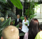 Wedding ceremony in garden. With the couple visible over the heads of the wedding guests Royalty Free Stock Photography
