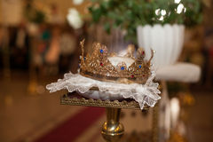 wedding ceremony golden crowns in the old church Royalty Free Stock Photography