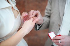 Wedding ceremony. The groom puts on to the bride a wedding ring Royalty Free Stock Image