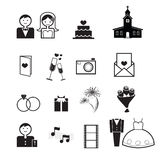 Wedding ceremony icons vector Royalty Free Stock Photos