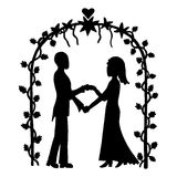 Wedding ceremony. Ink image of couple getting married on outdoor wedding ceremony Stock Images