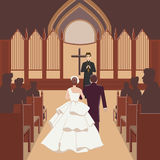 Wedding ceremony inside church with monk Royalty Free Stock Images