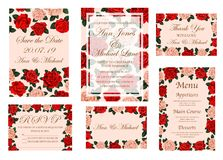 Wedding ceremony invitation card with rose flower. Wedding banner with rose flower for invitation and save the date card, menu and thank you poster template Royalty Free Stock Images