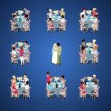 Wedding Ceremony. Just Married Couple First Dance. Guests are celebrating at tables. Isometric flat 3d illustration. Wedding Ceremony. Just Married Couple First Stock Image