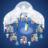 Wedding Ceremony. Just Married Couple First Dance. Isometric flat 3d illustration. Wedding Ceremony. Just Married Couple First Dance. Isometric vector flat 3d Stock Image