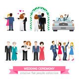 Wedding ceremony marriage flat vector: bride, groom, guests Royalty Free Stock Photo