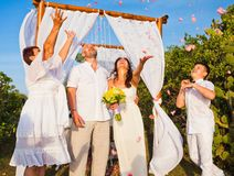 Wedding ceremony of mature couple and their family Royalty Free Stock Image