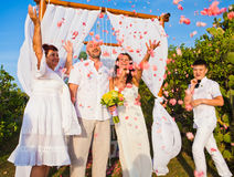 Wedding ceremony of mature couple and their family Stock Image